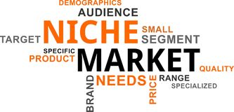 Word cloud - niche market. A word cloud of niche market related items stock illustration