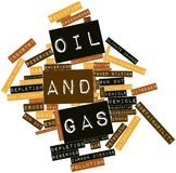 Word cloud for Oil and Gas. Abstract word cloud for Oil and Gas with related tags and terms Stock Photo