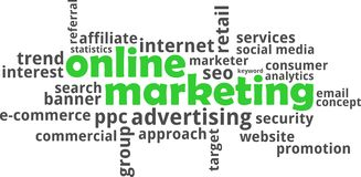 Word cloud - online marketing Stock Images