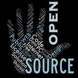 Word cloud as background. Word cloud of the open source as background Stock Image