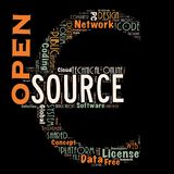 Word cloud as background. Word cloud of the open source as background Stock Photos