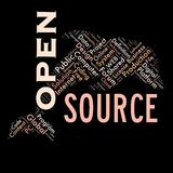 Word cloud as background. Word cloud of the open source as background Royalty Free Stock Photography