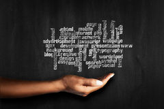 Word Cloud with Open Source. Closeup picture Royalty Free Stock Photo