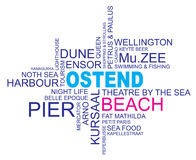Word cloud ostend. Word cloud around ostend, city in belgium, flanders, vector image, eps10 Stock Images