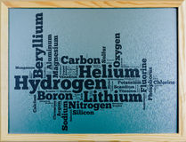 Word cloud of periodic element written on chalkboard Royalty Free Stock Photos