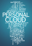 Word Cloud Personal Cloud. Word Cloud with Personal Cloud related tags Royalty Free Stock Photos