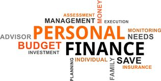 Word cloud - personal finance. A word cloud of personal finance related items Stock Images