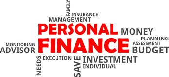 Word cloud - personal finance. A word cloud of personal finance related items royalty free illustration