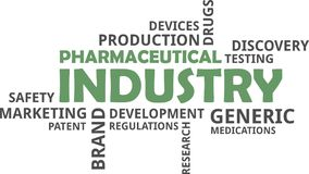 Word cloud - pharmaceutical industry. A word cloud of pharmaceutical industry related items stock illustration