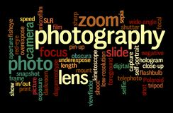 Word cloud of Photography. Word cloud of the word photography; background concept of photo Stock Photography
