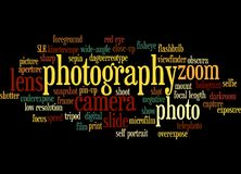Word cloud of Photography. Word cloud of the word photography; background concept of photo Stock Image