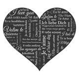 Word cloud. Phrase I love you in many languages. Stock Image