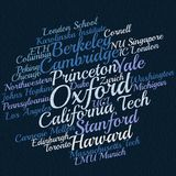 Word cloud of popular universities stock illustration