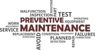 Word cloud - preventive maintenance. A word cloud of preventive maintenance related items stock illustration