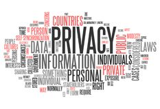 Word Cloud Privacy. Word Cloud with Privacy related tags Royalty Free Stock Images