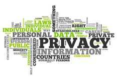 Word Cloud Privacy. Word Cloud with Privacy related tags Stock Image