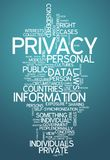 Word Cloud Privacy. Word Cloud with Privacy related tags Stock Photography