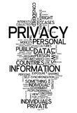 Word Cloud Privacy. Word Cloud with Privacy related tags Royalty Free Stock Photos