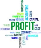 Word cloud - profit. A word cloud of profit related items Stock Image