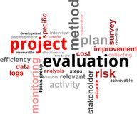 Word cloud - project evaluation. A word cloud of project evaluation related items Stock Photo