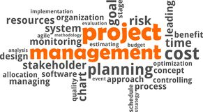 Word cloud - project management. A word cloud of project management related items Stock Photos