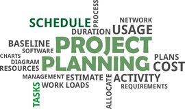 Word cloud - project planning Stock Photo