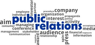 Word cloud - public relations. A word cloud of public relations related items Stock Image