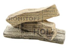 Word cloud rawterial wood in German. Word cloud with wood as background and transparent relevant german keywords on the subject of raw material wood royalty free stock image