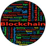 Blockchain, word cloud concept on black background. Word cloud related to bitcoin, cryptocurrency, virtual money and transactions; word `blockchain` emphasized Stock Images