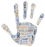 Word cloud related to World Day Against Child Labour. Tag cloud related to World Day Against Child Labour Royalty Free Stock Photography