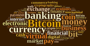 Word cloud relating to Bitcoin. Stock Photography