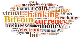 Word cloud relating to Bitcoin. Royalty Free Stock Photography