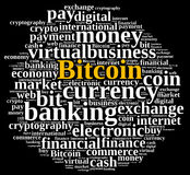 Word cloud relating to Bitcoin. Royalty Free Stock Images