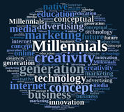 Word cloud relating to Millennials. Stock Photos