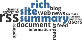 Word cloud - rich site summary Stock Images