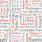 Word cloud seamless pattern. World capitals in word tags. Stock Images