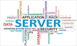 Word cloud - server. A word cloud of server related items Stock Photo