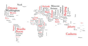 Word cloud in a shape of map contains all world capitals. Stock Photos