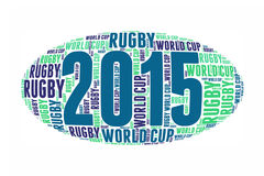 Word cloud in the shape of a rugby ball. World cup 2015 Stock Photography