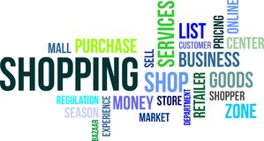 Word cloud - shopping. A word cloud of shopping related items royalty free illustration