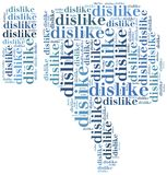 Word cloud social media related in shape of thumb Royalty Free Stock Photo