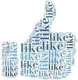 Word cloud social media related in shape of thumb Stock Image