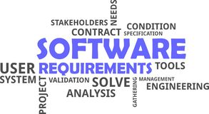 Word cloud - software requirements Stock Photos
