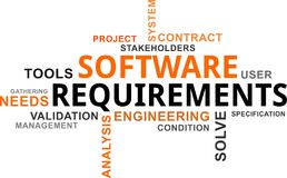 Word cloud - software requirements Stock Image