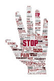 Word cloud stop violence. Hand shape Stock Photos