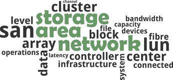 Word cloud - storage area network. A word cloud of storage area network related items stock image