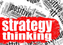Word cloud strategy thinking Stock Photos