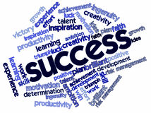 Word cloud for Success. Abstract word cloud for Success with related keywords and terms Stock Photo