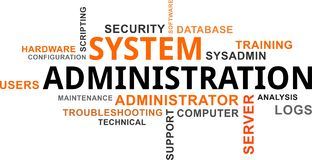 Word cloud - system administration Stock Photography