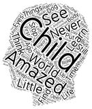 Word Cloud Text Background Concept. The Amazement of A Child text background wordcloud concept Stock Image